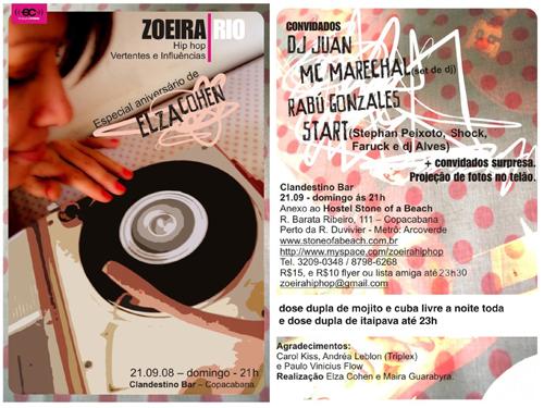 Zoeira Hip Hop Rio comemora o aniversário da produtora Elza Cohen