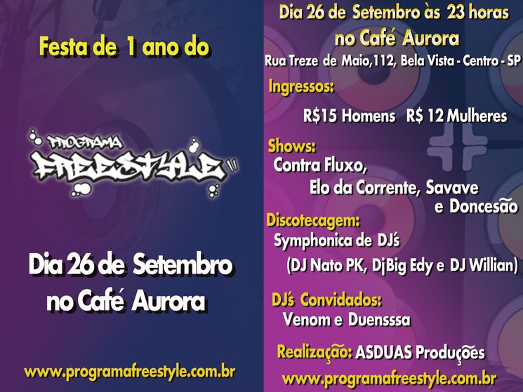 Flyer da Festa do Programa Freestyle
