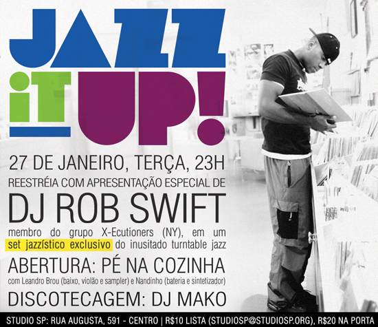 Flyer da festa Jazz It Up! que acontece na próxima terça (27)