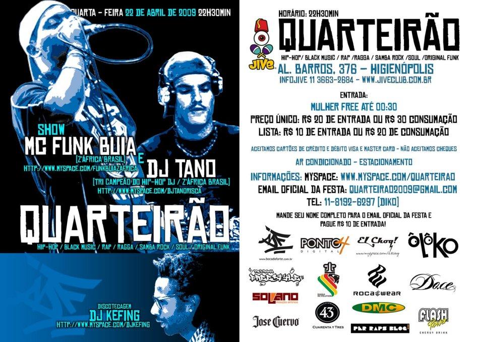 Quateirão apresenta: Funk Buia e Dj Tano